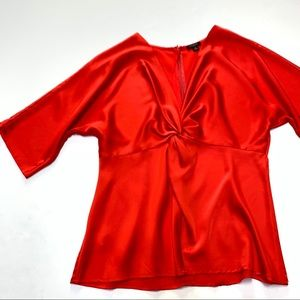 Ann Taylor Knot Red Dressy Zip Up Blouse Size 8